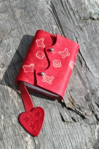 Leather Hand Bound Red Heart Notebook