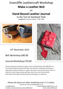 Belt & Journal Workshop - 14th November