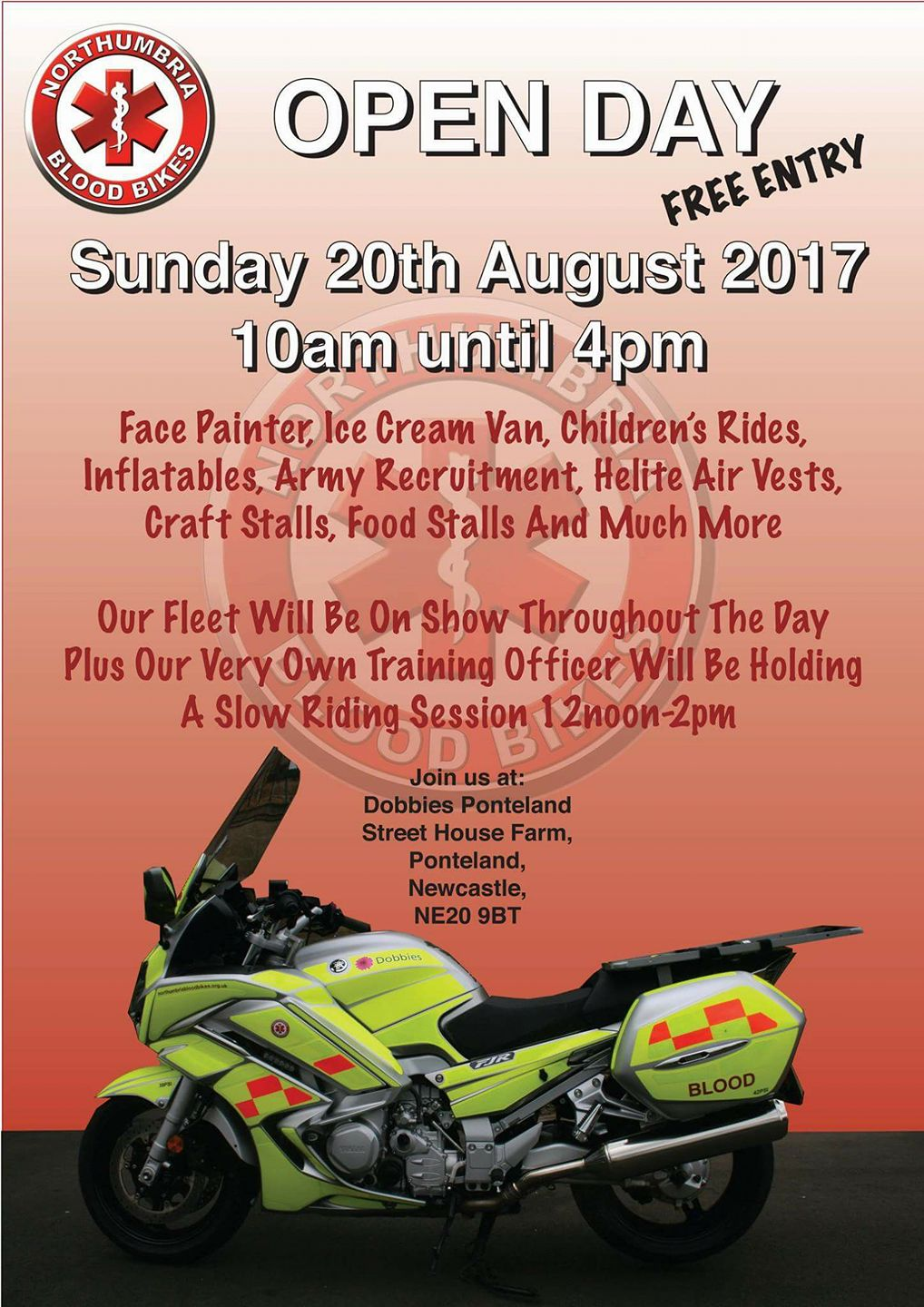 Northumbria Blood Bikes Open Day at Dobbies Garden Centre Ponteland.