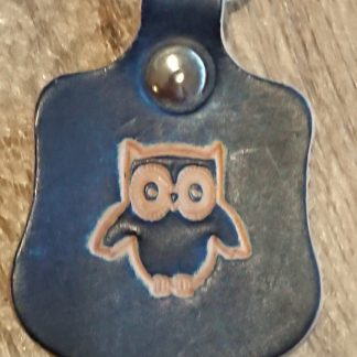 Owl Keyring Blue by Evancliffe leathercraft