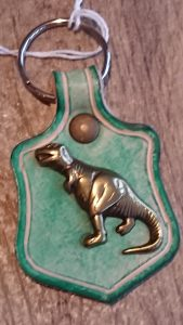 T-Rex Keyring Green by Evancliffe Leathercraft
