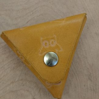 Samosa Triangular Coin Purse Owls Yellow by Evancliffe Leathercraft