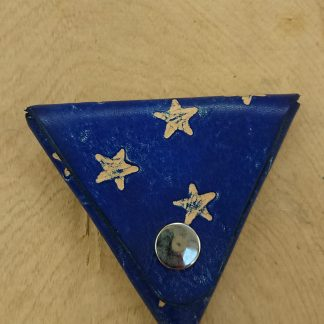 Samosa Triangular Coin Purse Stars Blue by Evancliffe Leathercraft