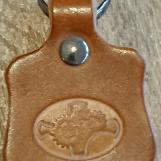 Steampunk Oval Cogs Keyring in Tan by Evancliffe Leathercraft