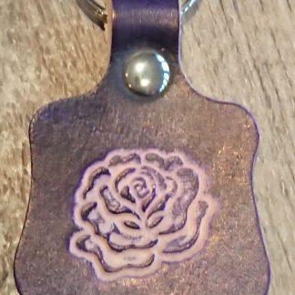 Rose Keyring Purple by Evancliffe Leathercraft