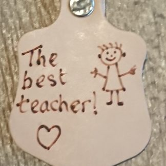 The Best Teacher Pyrography Keyring by Evancliffe Leathercraft