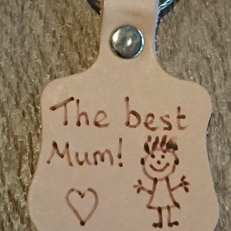 Best Mum Heart Pyrography Keyring by Evancliffe Leathercraft